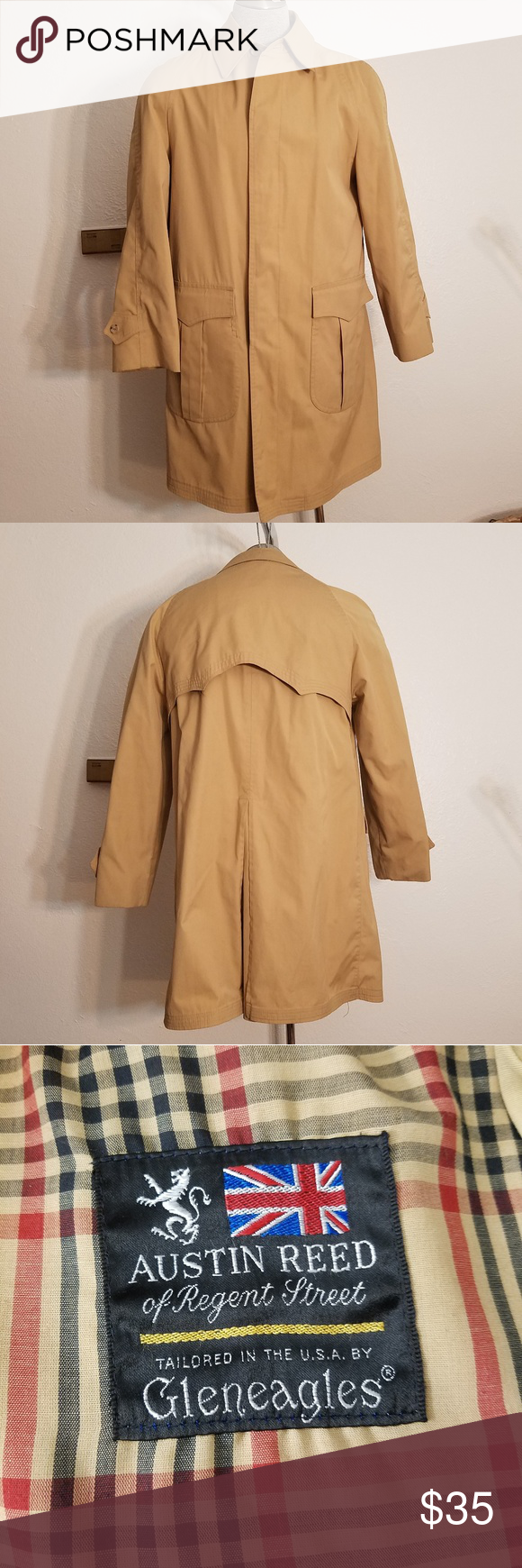 Austin Reed Mens Khaki Rain Coat Jacket Is Lined But Includes Zipper For An Additional Lining Which Is Not Present Chest 24 Raincoat Mens Khakis Austin Reed