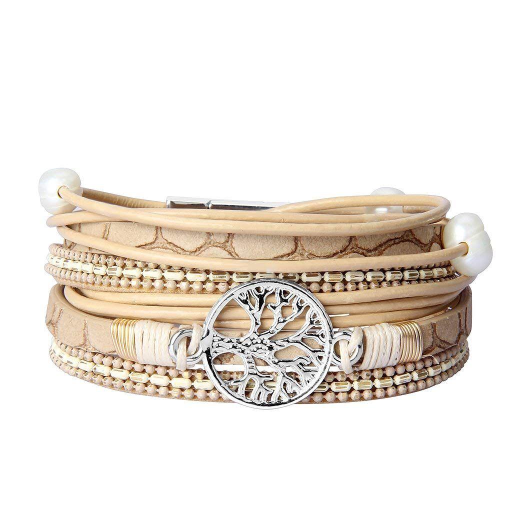 1efe504c6de Jenia Tree of Life Leather Wrap Bracelet Pearl Multilayer Rope Braided  Bracelet Casual Cuff Bracelets Bohemian Jewelry for Women, Lady, Mother,  Wife, ...