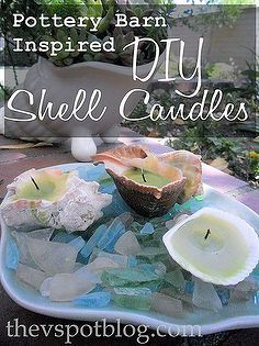 recycled candles and repurposed shells make great pottery barn inspired shell candles, diy home crafts, repurposing upcycling, These are so ...