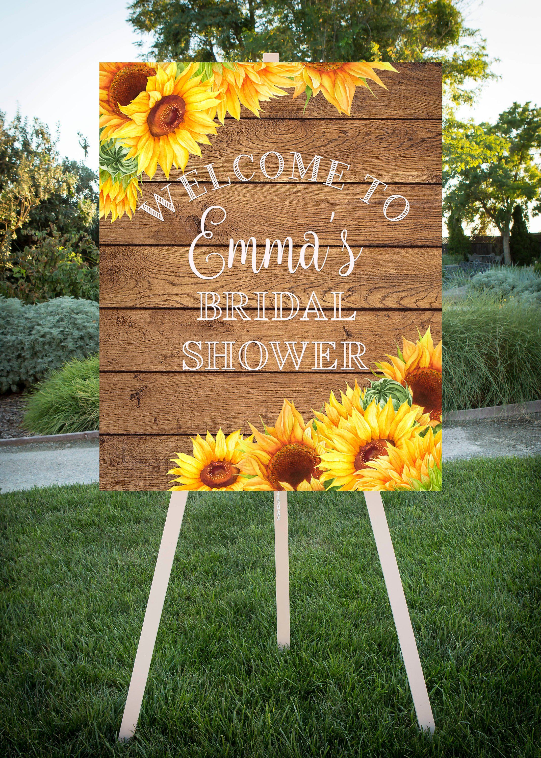 Sunflower Bridal Shower, Sunflowers on wood, Bridal Shower Welcome, Printable Sign, large format printable sign, Welcome Sign 16×20, 24×30