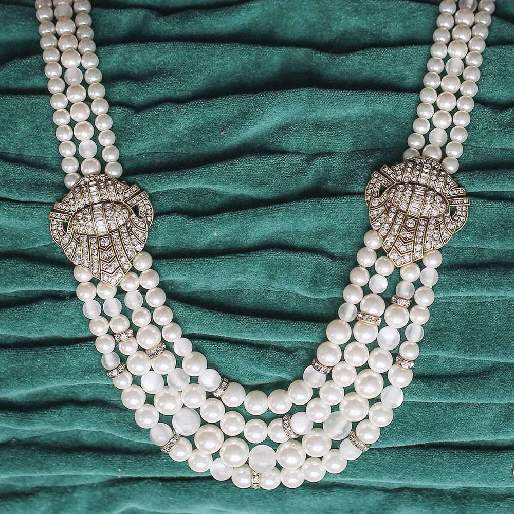 Heirloom Pearl Deco Statement Necklace  |  $128   Giving some deco drama to your special day in a big way!  https://www.chloeandisabel.com/boutique/lesley