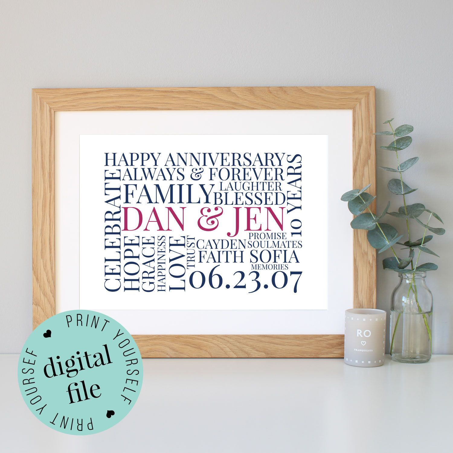 Personalised 10th Anniversary Gift Word Art Framed Print