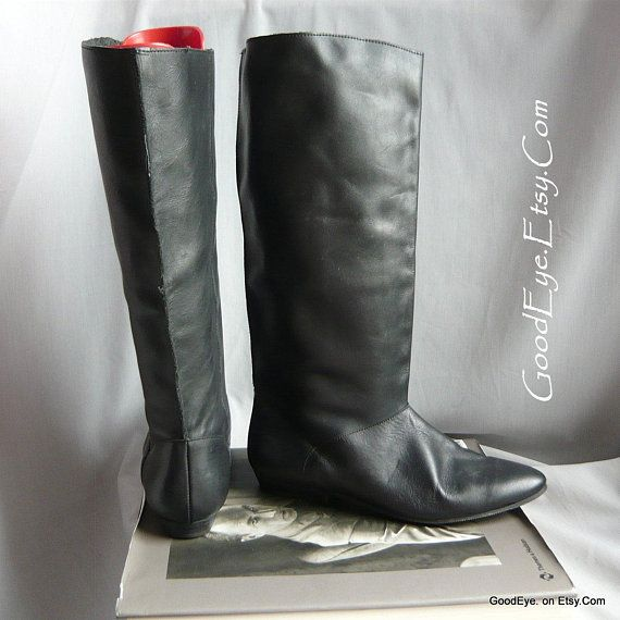 7f77957223f6 Vintage 90s PIXIE Slouch Boots / Black Leather size 7 M Eur 37.5 UK 4 .5 /  Boho Pirate Knee Boot F