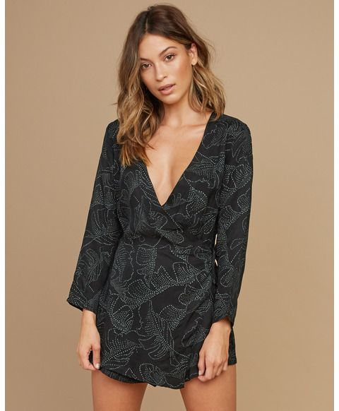 Photo of Negative Printed Wrap Romper WN05SRNE