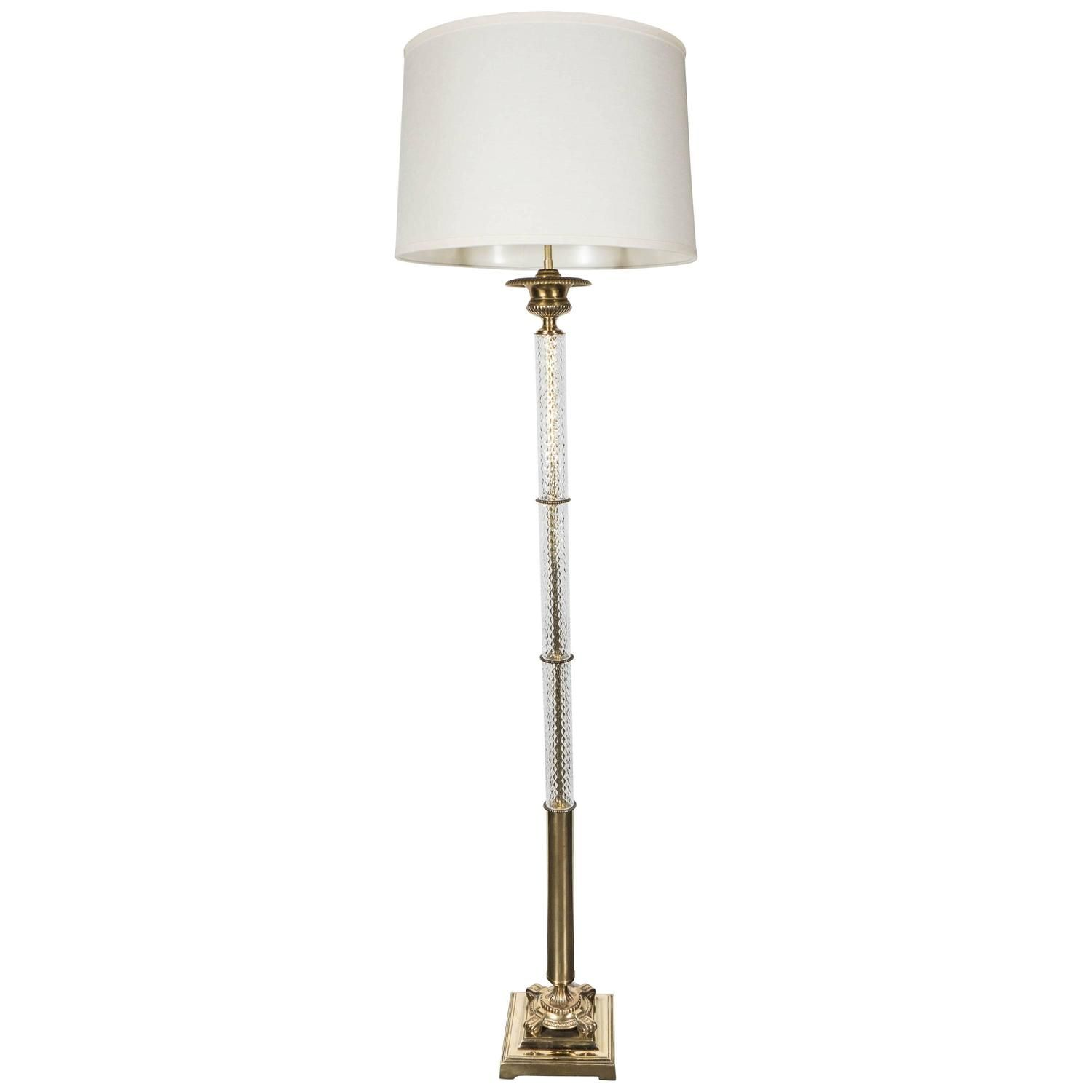 Stunning Art Deco Brass and Glass Floor Lamp with ...