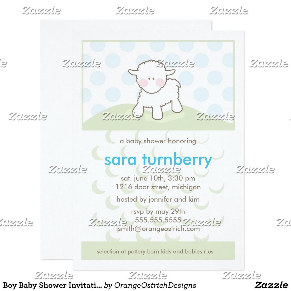 Boy Baby Shower Invitation - Little Lamb | Boy baby showers and ...