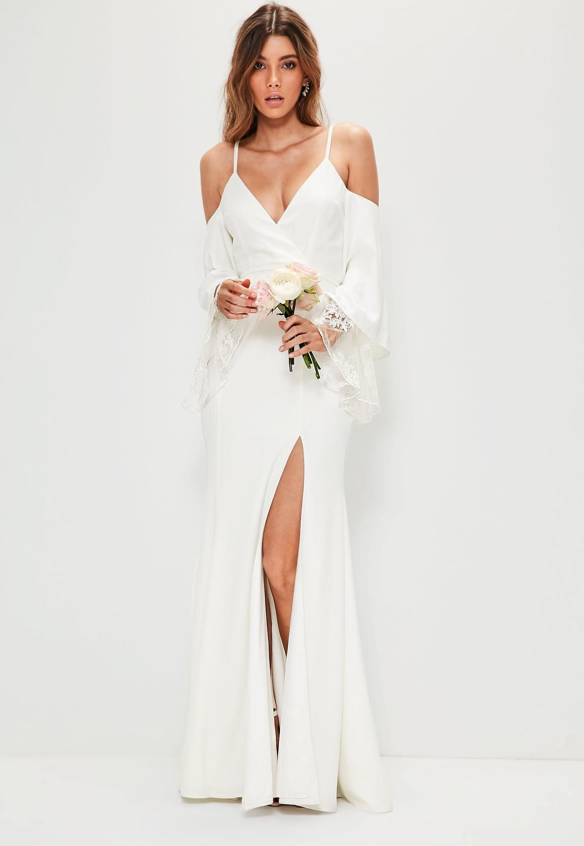 d587d4cee8f Missguided - Bridal White Cold Shoulder Lace Detail Maxi Dress ...