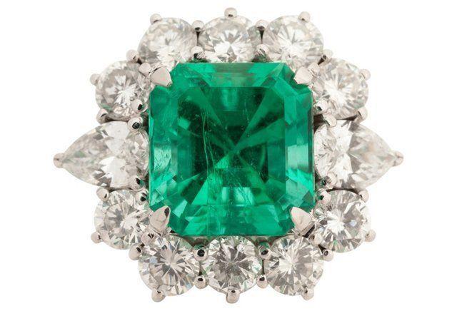 Platinum, Diamond & Emerald Ring