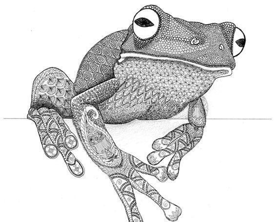 rana de árbol zentangle arte animal | mosaico | Pinterest | Ranas de ...