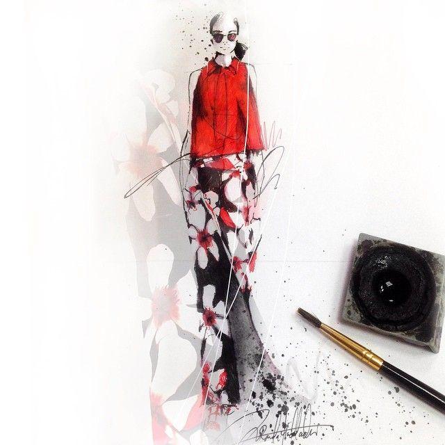 It's a Carolina Herrera kinda Red, from the 2015 spring collection #ink #art #fashion #fashionart #fashionillustration #illustration #sketch #skrien #artnerd #artfido #bouchac #ladyterezie #carolinaherrera #red