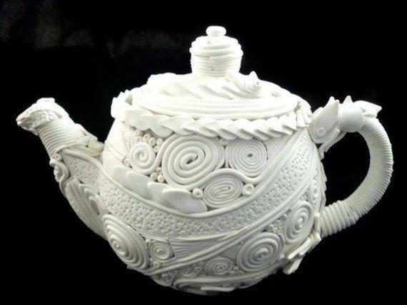 Teapot decorative art piece home decor white polymer by HiGirls, $75.00