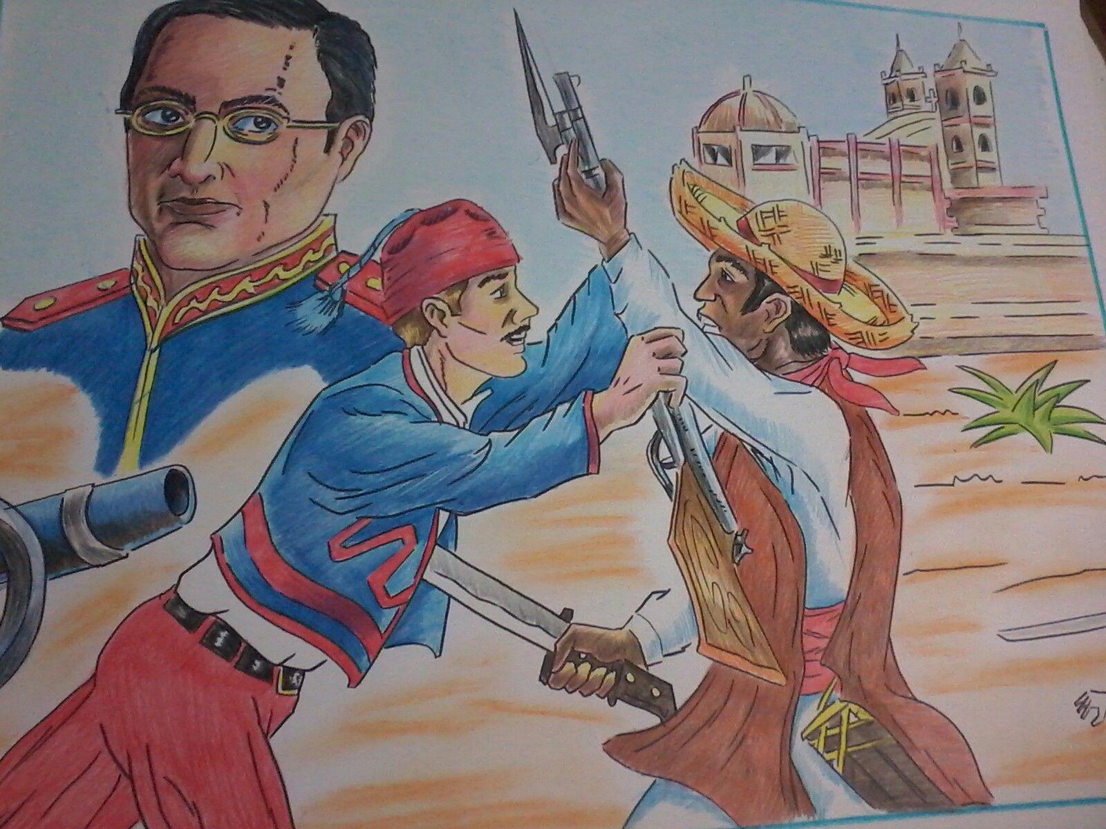 Dibujo Cartulina Batalla De Puebla Con Imagenes Pueblo Dibujo