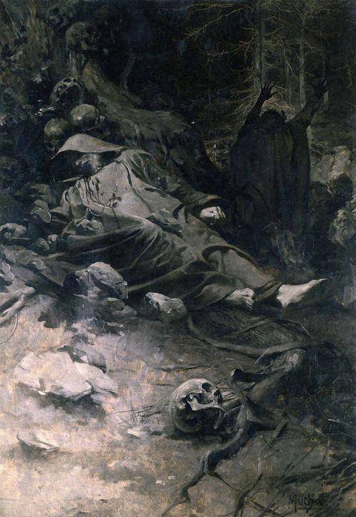 Alphonse Mucha, Study for The Death of Saint Adalbert, 1893 #death #dark