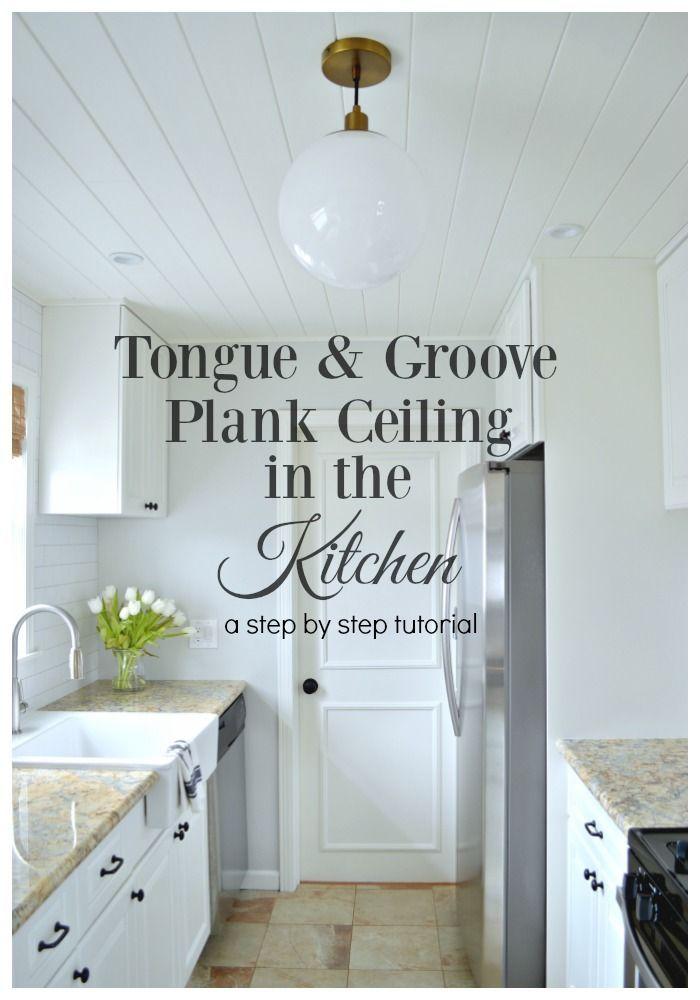 Diy kitchen plank ceiling