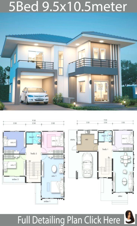 95x105m Hausplan House Design Plans Mit Schlafzimmern House Design Plan 9 5x10 5m With 5 Bedrooms Hau Haus Plane Haus Design Plane Haus Architektur