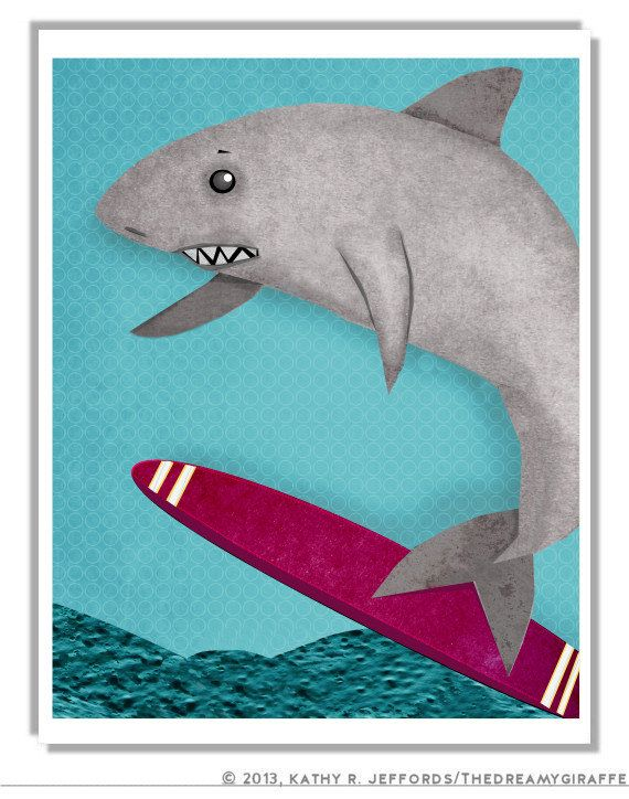 Letu0027s Go Surfing Shark. Surfer Art Print. Surf Decor For Ocean Themed Kids  Room