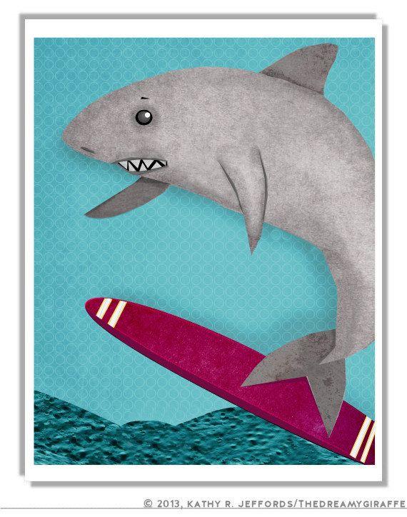 Letu0027s Go Surfing Shark. Surfer Art Print. Surf Decor For Ocean Themed Kids  Room