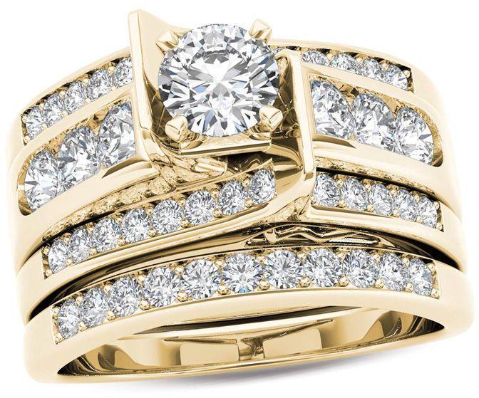 1 1 4 Ct T W Diamond Multi Row Bridal Set In 14k Gold Zales Bridal Ring Sets Yellow Gold Bridal Fashion Jewelry Diamond Bridal Sets