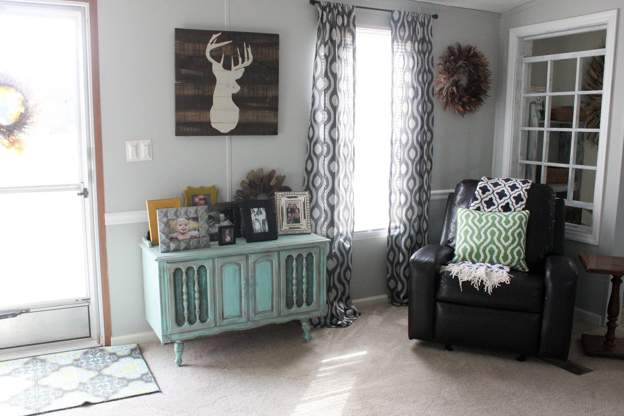 Mobile Home Living Room Reveal   Re Fabbed   Mobile home living, Remodeling mobile homes, Living ...