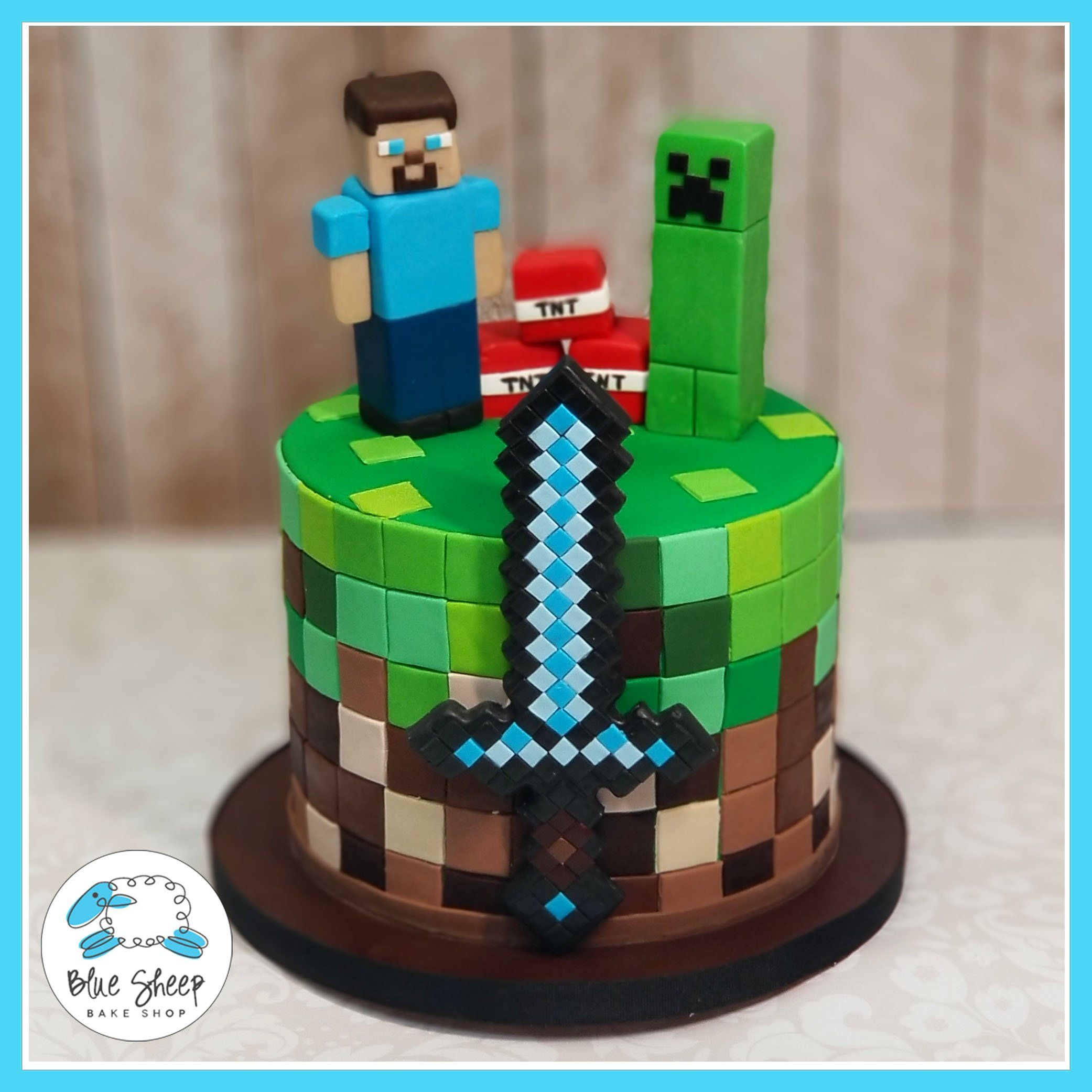 Superb Minecraft Birthday Cake With Images Minecraft Birthday Cake Funny Birthday Cards Online Elaedamsfinfo