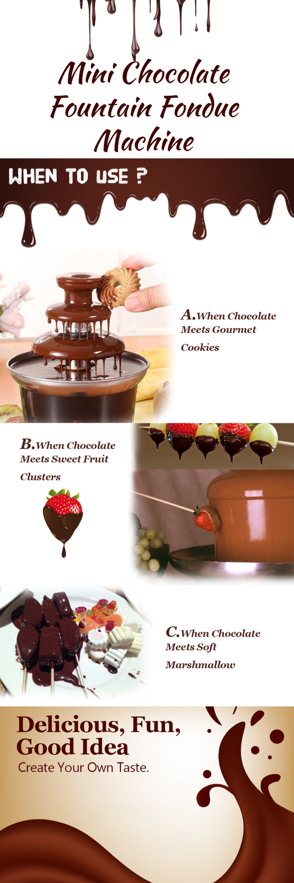Mini Chocolate Fountain Fondue Machine | Home Decor & Party Decoration Gifts #chocolatefountainfoods