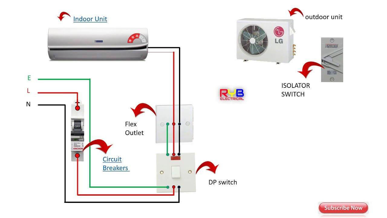 single phase split ac indoor outdoor wiring diagram ryb electrical [ 1280 x 720 Pixel ]