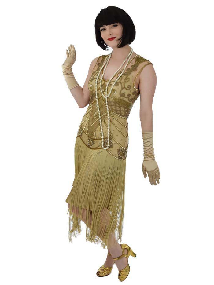 1920s Downton Abbey Dresses Gold Beaded Fringed Anita 20s Style Flapper Dress 175 00 At Vintagedancer 1920s Fashion Dresses Flapper Dress Beaded Flapper Dress