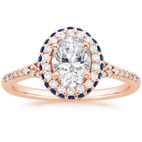 14K Rose Gold Circa Diamond Ring with Sapphire Accents, top view