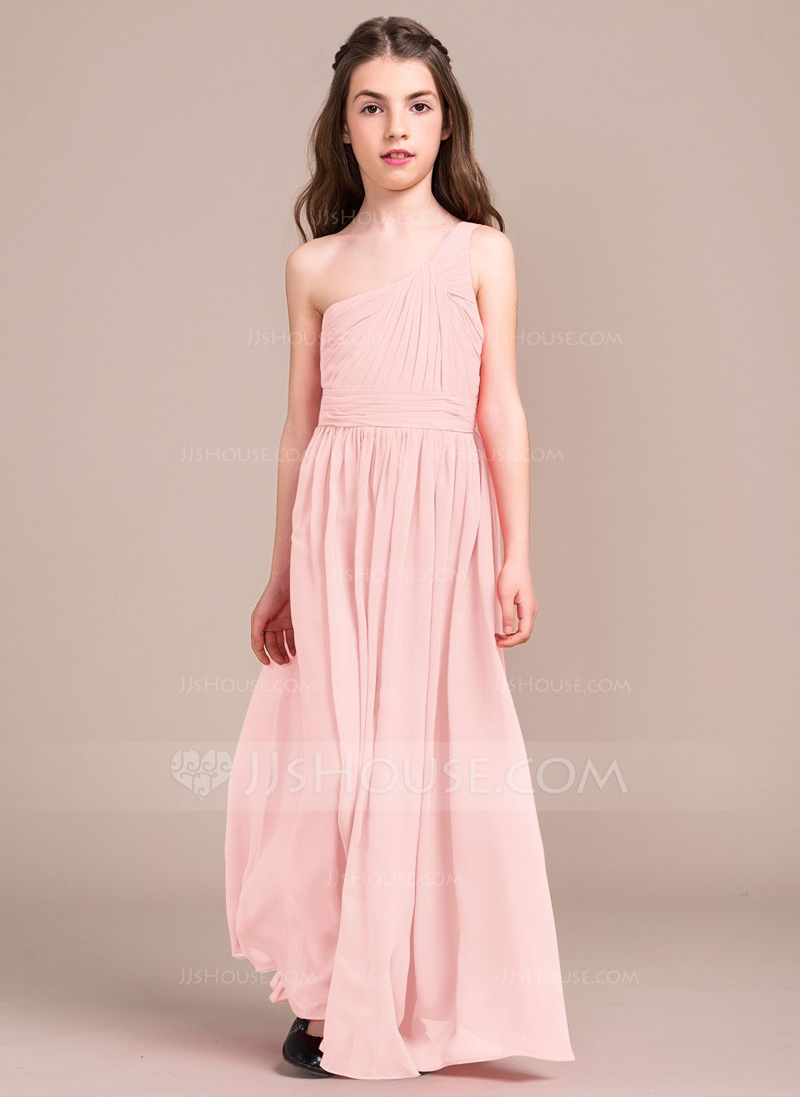 A-Line/Princess One-Shoulder Floor-Length Ruffle Zipper Up Regular ...
