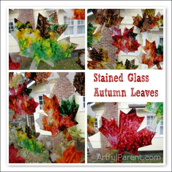 Stained Glass Autumn Leaves - Beautiful in the Window!