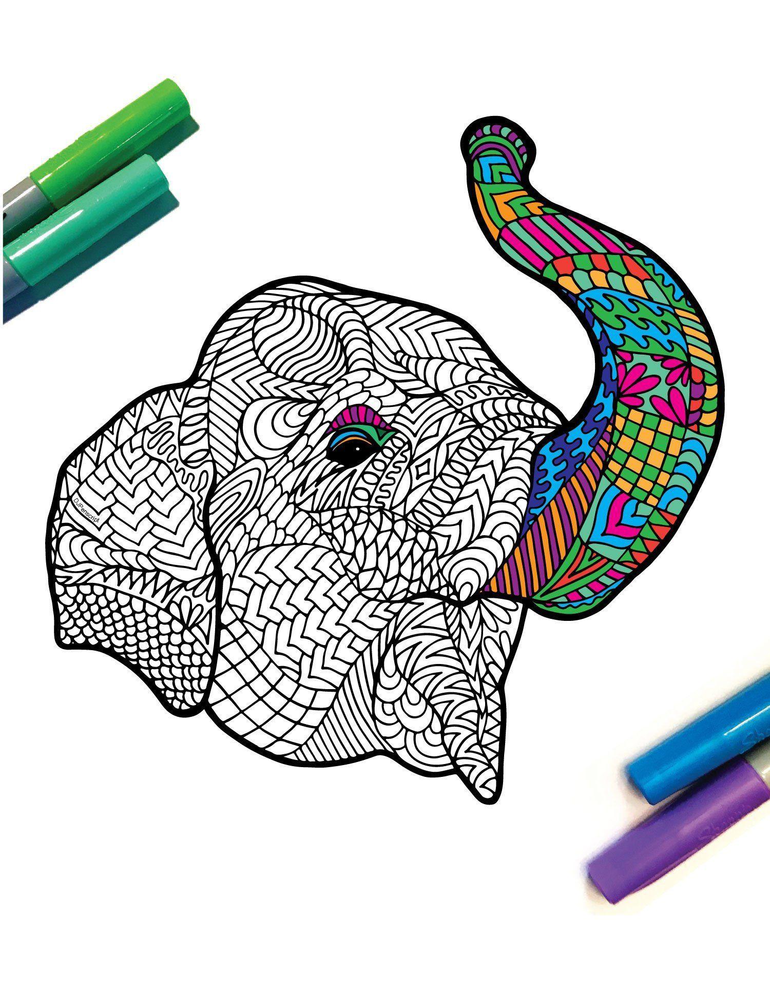 Sumatran Elephant Endangered Animal PDF Zentangle