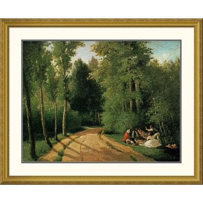 Global Gallery 'A Picnic at Montmorency' by Camille Pissarro Framed Painting Print Size: