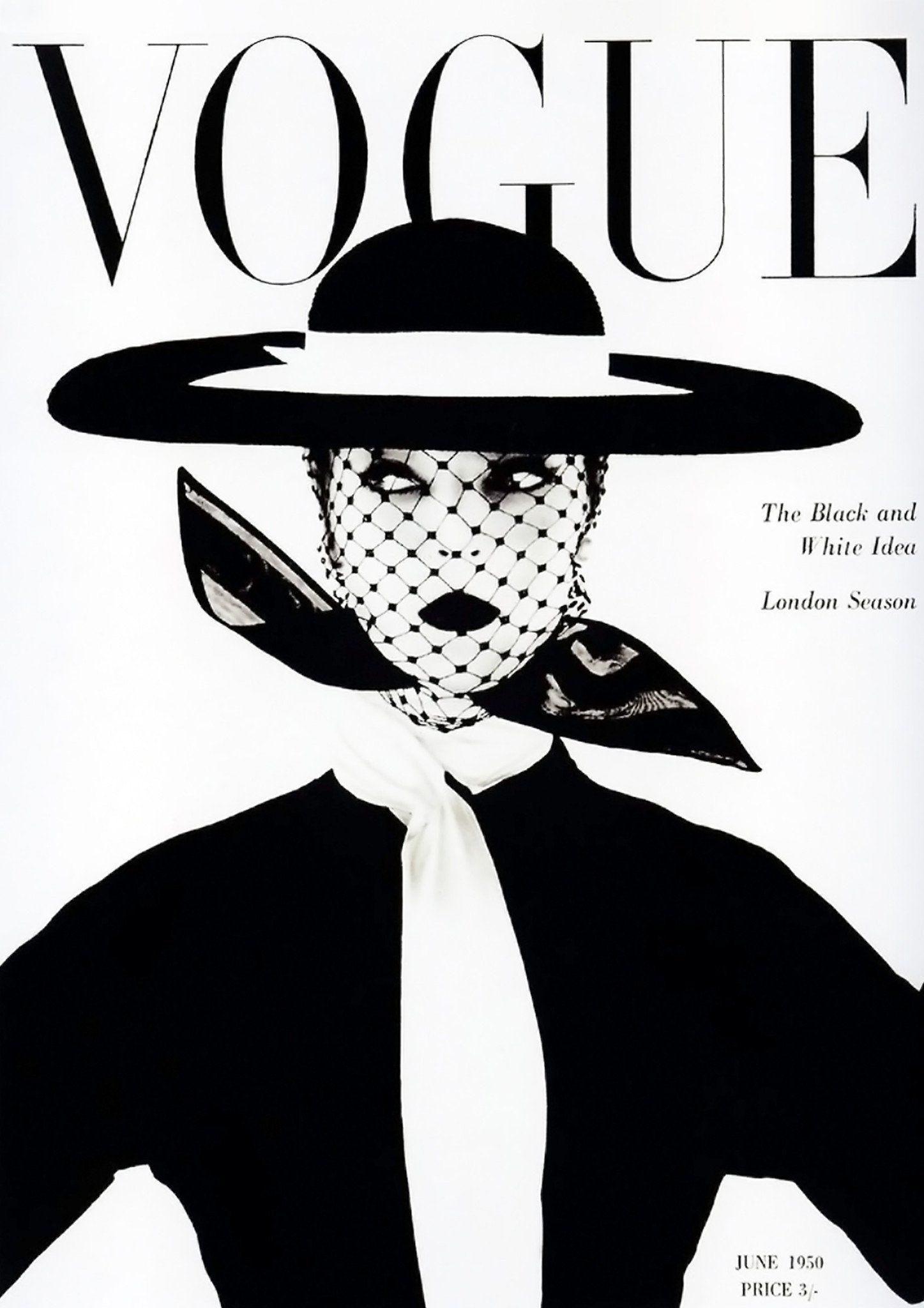 Vogue magazine cover vintage black and white fashion art