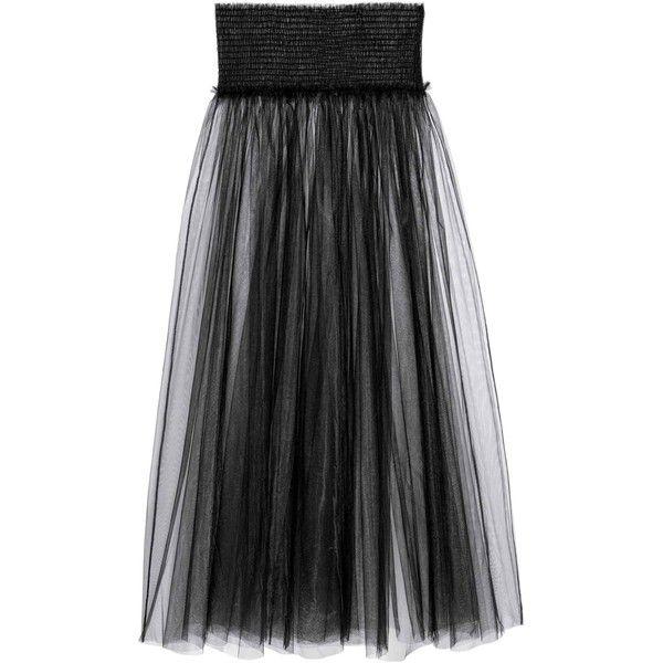 01282beec Transparent skirt (225 HRK) ❤ liked on Polyvore featuring skirts, see  through skirt, smocked skirt, long skirts, long mesh skirt and sheer skirt
