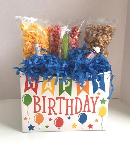 Large Happy Birthday Popcorn Gift Box With Candy