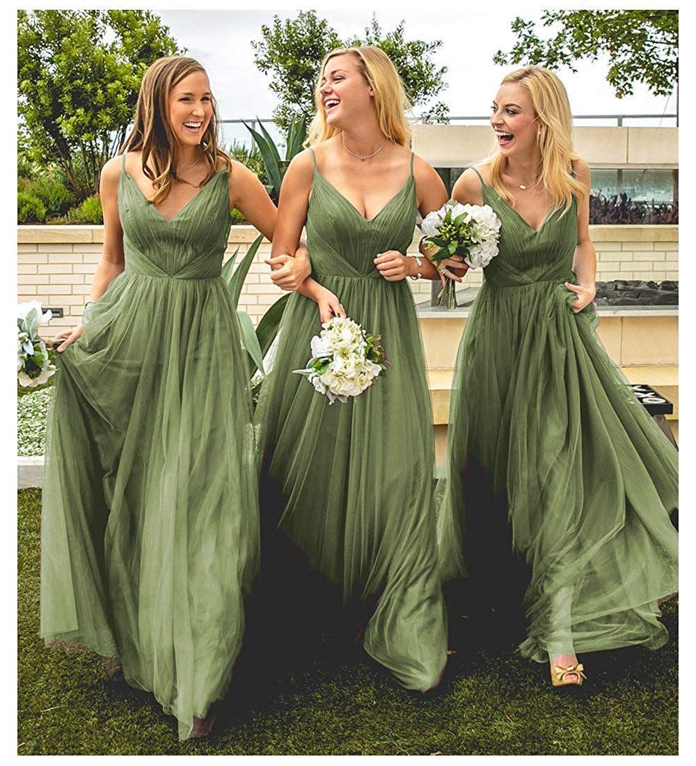 Women Cute V Neck A Line Tulle Wedding Bridesmaid Dresses Long Formal E Long Green Bridesmaid Dresses Olive Green Bridesmaid Dresses Wedding Bridesmaid Dresses