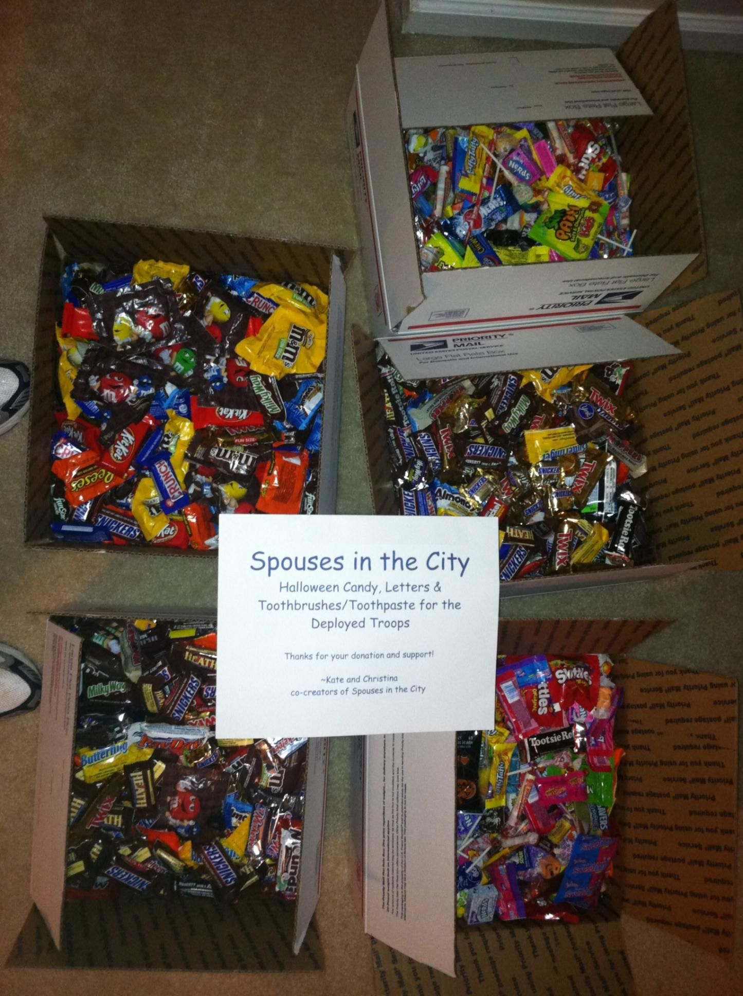 Halloween candy collection for the deployed troops. Over 57lbs of candy sent to Operation Gratitude in November 2011