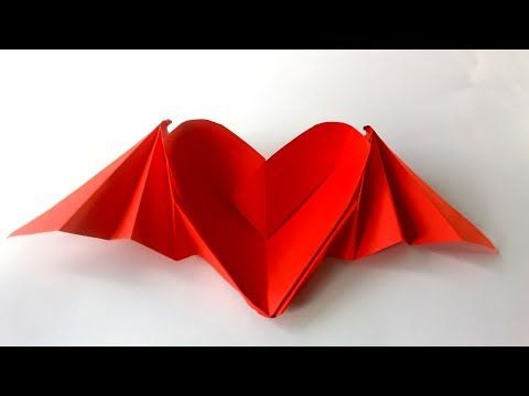 Como hacer un Corazón con alas origami / corazon de papel - Heart ...