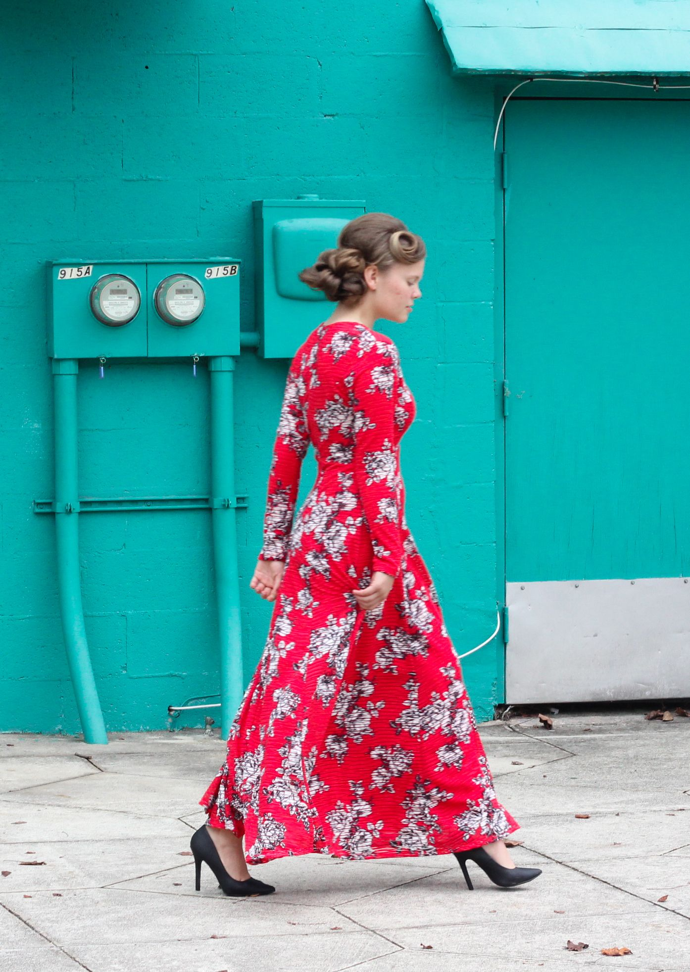 677b9cd940 Modest ribbed long sleeve floral maxi dress in red available in S-XL ...