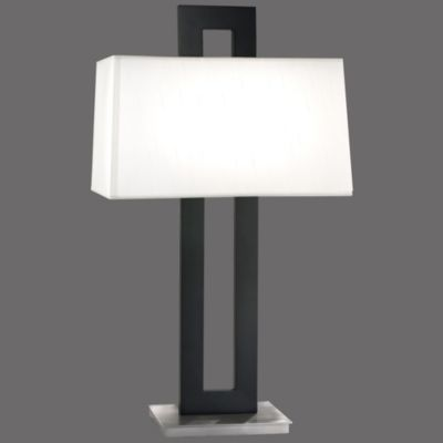 Otto table lamp by sonneman lighting blackened steel and satin otto table lamp by sonneman lighting blackened steel and satin nickel finish white linen mozeypictures Image collections