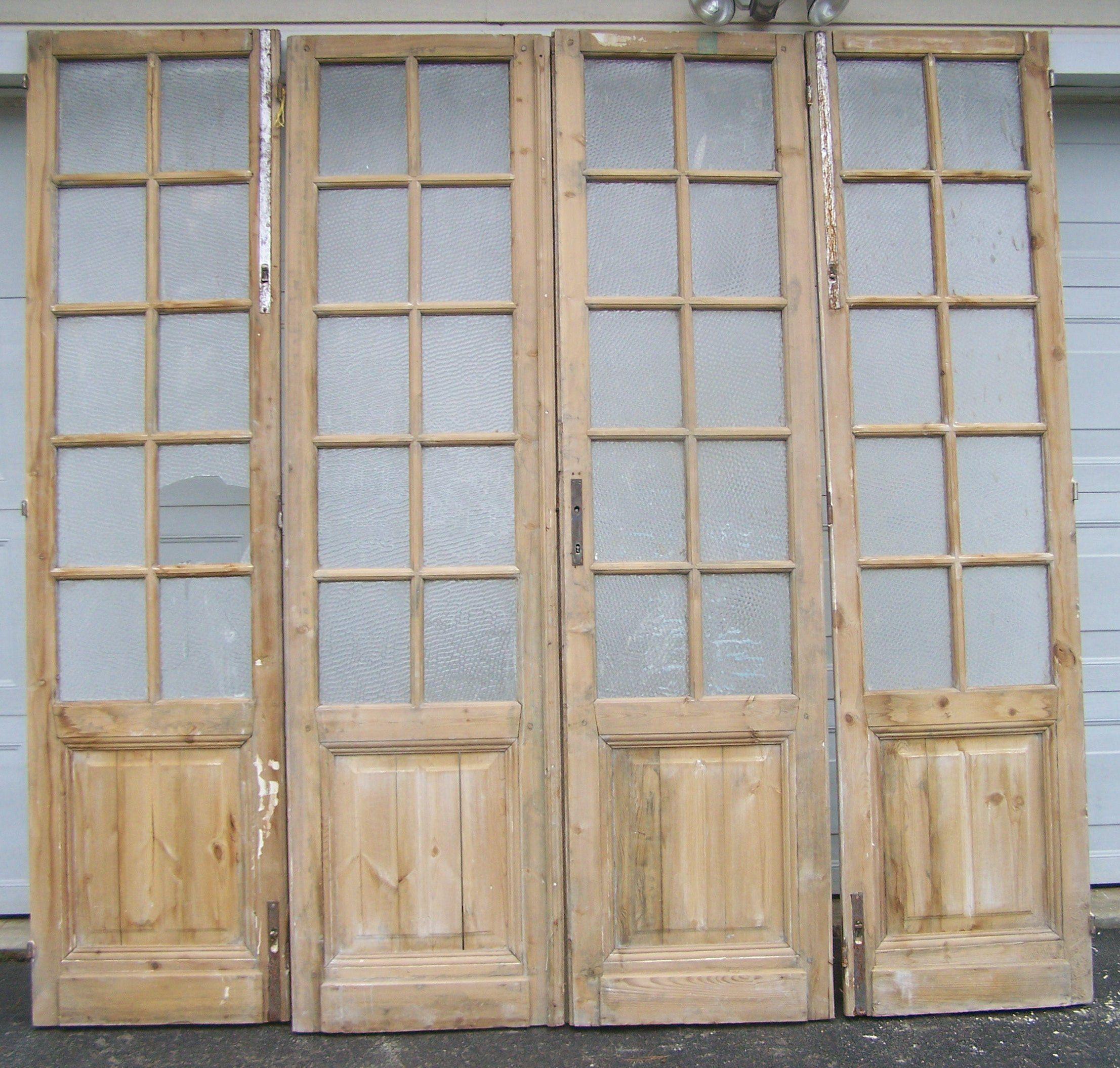 Antique Wood Two Panel Doorsglass Panelsmediterranean Etsy European Doors Wood Exterior Door How To Antique Wood