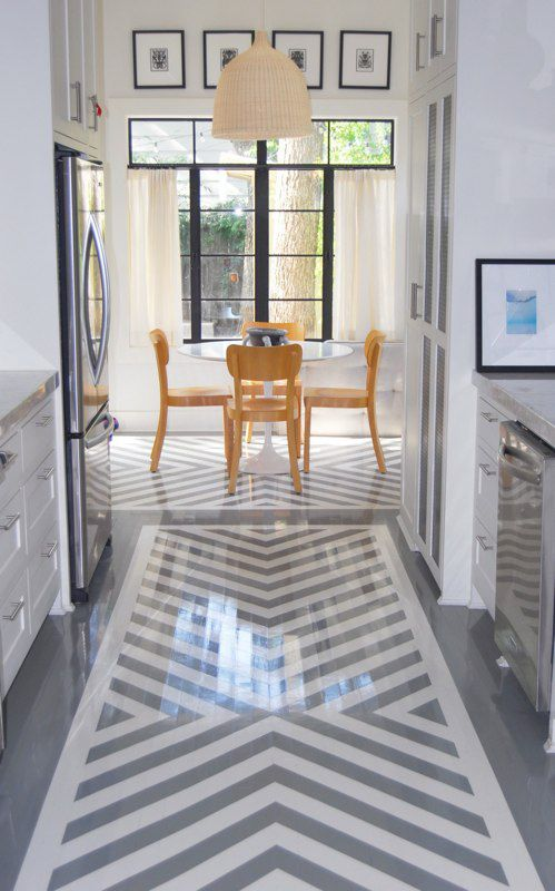 Grey And White Chevron Painted Floor Want See