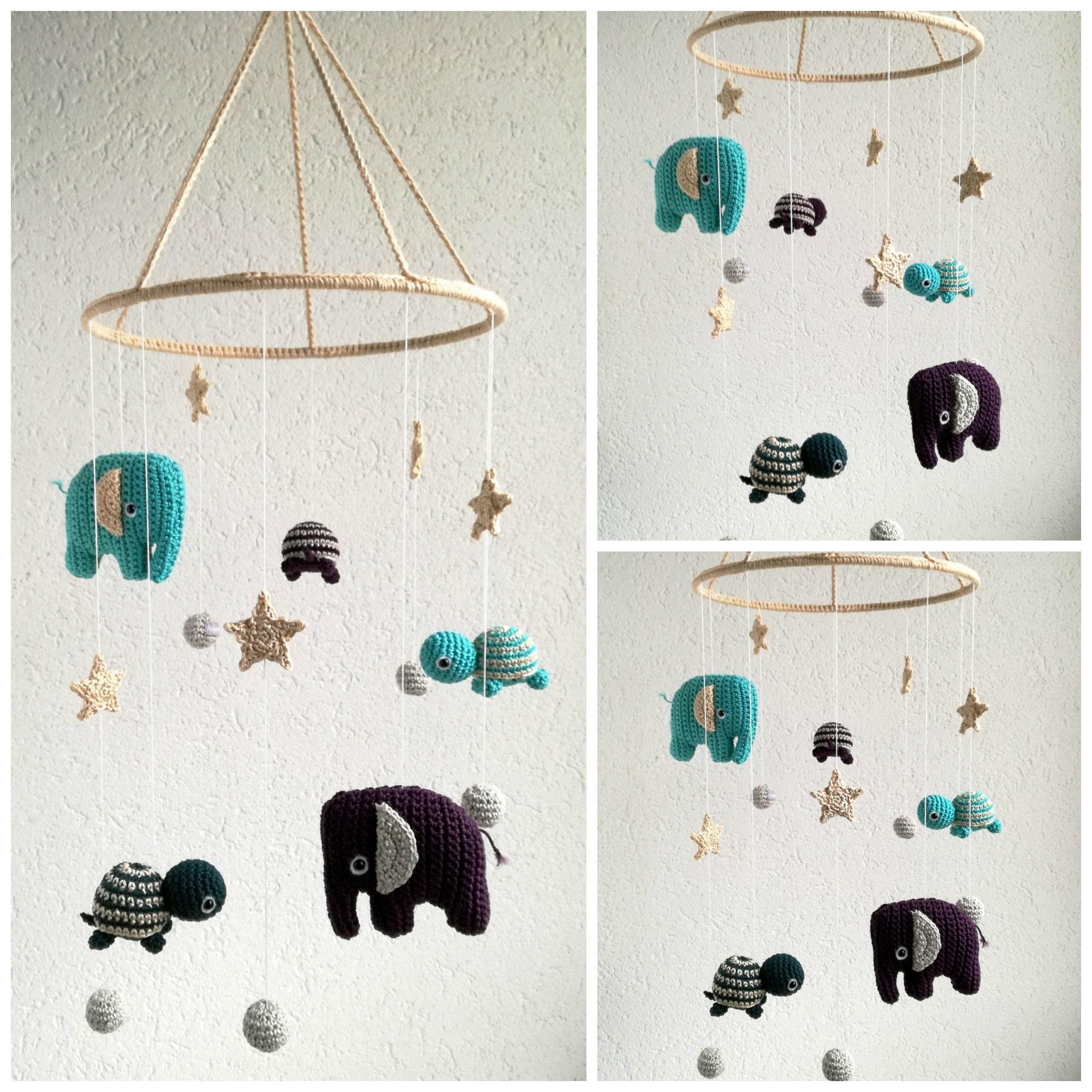 Babymobile gehäkelt mit Elefanten&Schildkröten, Sterne&Kugeln ...