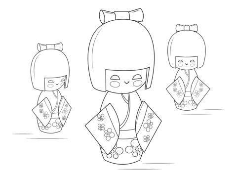 Kokeshi Dolls Coloring page | Rocks IV | Pinterest | Rusas, Pinturas ...