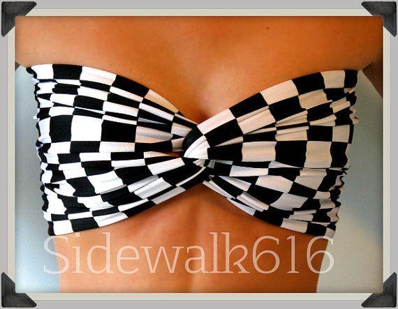 9248a34cc3 When I get skinny again for NASCAR races!!! Bandeau Top Checkered Flag  Print Bandeau Bikini Swim Bandeau Spandex Bandeau Black Bandeau on Etsy