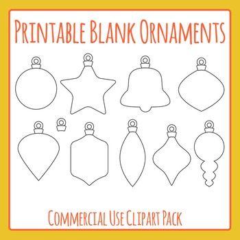 Printable Blank Christmas Ornaments Clip Art Pack For Commercial Use Clip Art Christmas Ornaments Ornaments