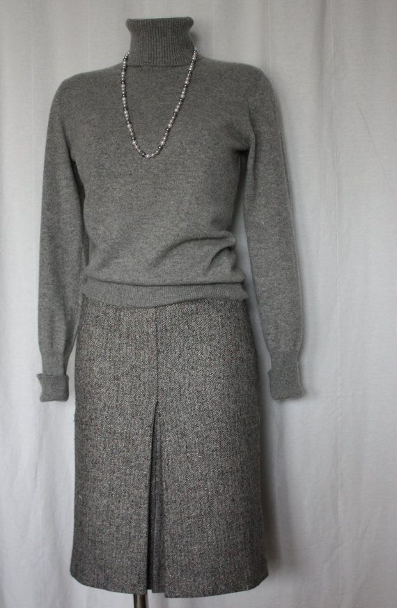 Grey pure cashmere sweater classic preppy ultra by PitzicatVintage, $45.00