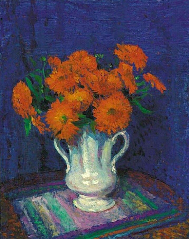 James Bolivar Manson (British, 1879 - 1945) - Marigolds in a White Vase (early 20th century)