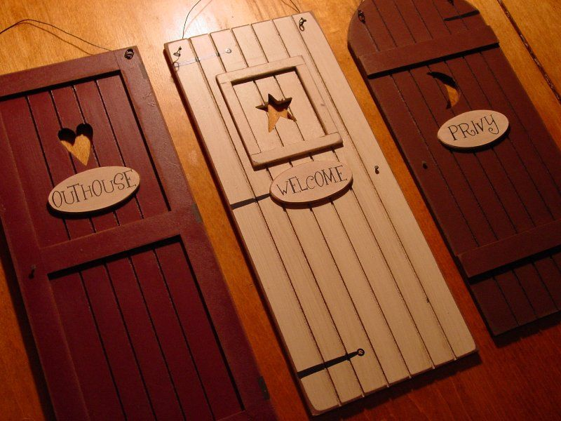 COUNTRY OUTHOUSE WELCOME PRIVY 3 Rustic Bathroom Door Signs Set Home