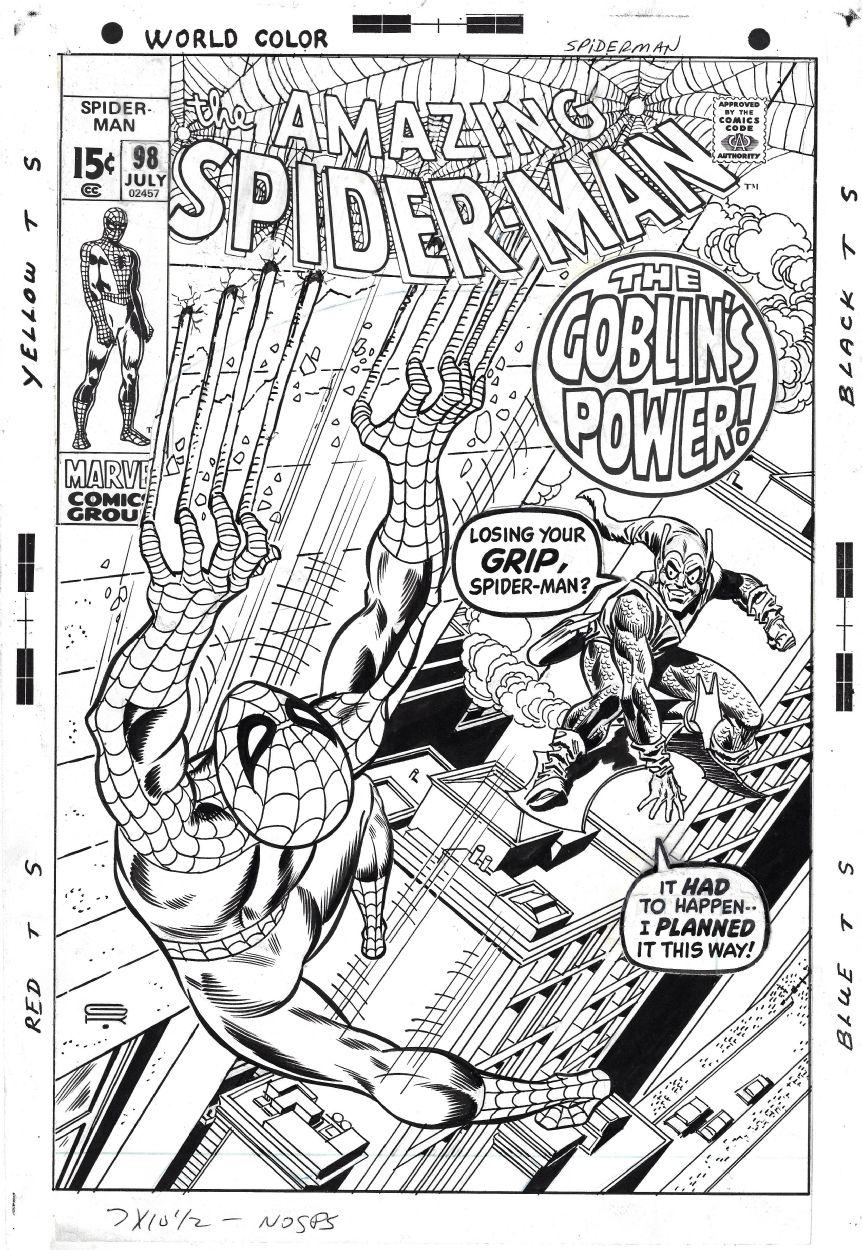 Gil Kane Amazing Spider Man 98 Cover Marvel 1971 Artists Gil Kane Penciller Frank Giacoia Inker W B